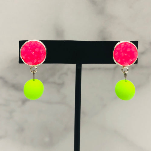 12mm Multiple Colors Neon Stud Earrings with beaded drop - Bold & Bright Boutique