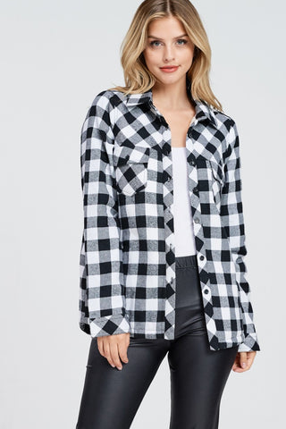 Sherpa Lined Plaid Button-up Shirt - Bold & Bright Boutique