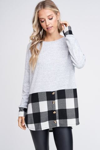 Plaid Bottomed Knit Sweater - Bold & Bright Boutique
