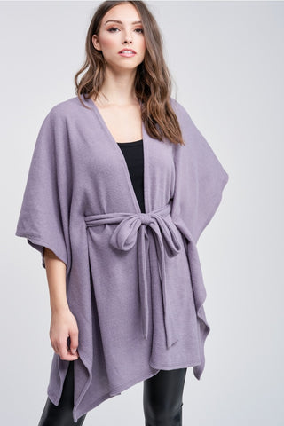 Super Soft Lavender Open Front Belted Cardigan - Bold & Bright Boutique