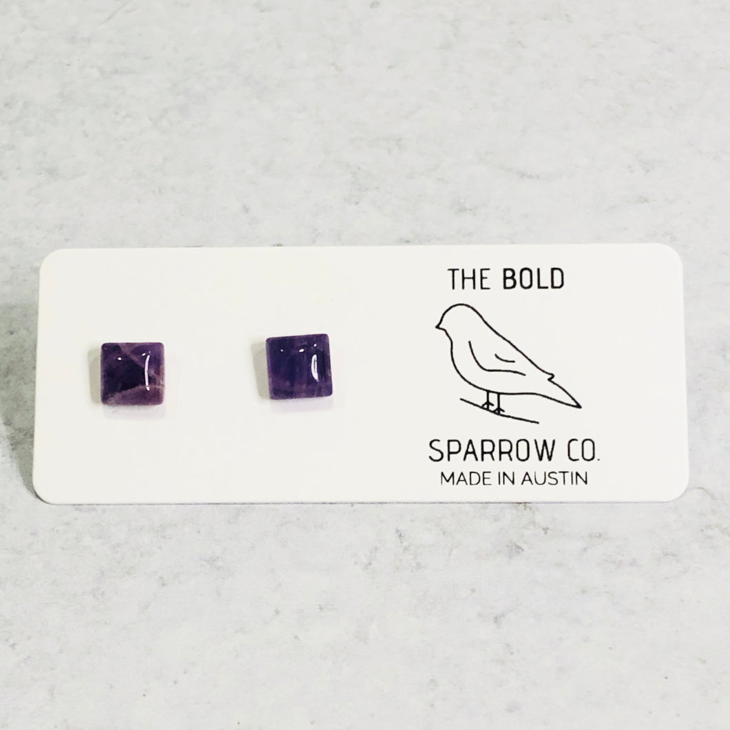 6mm Square Natural Stone Studs - Bold & Bright Boutique