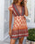 InsDresses Vintage V-Neck Tie Bohemian Mini Dress