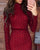 InsDresses Hot Stamping Mock Neck Plaid Long Sleeve Bodycon Dress