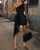 InsDresses Glitter One Shoulder Sheer Mesh Ruched Party Dress