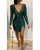 InsDresses Glitter V-Neck Long Sleeve Slit Sequins Bodycon Dress