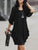 InsDresses Round Neck Ruched Plain Puff Sleeve Shift Dress