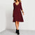 InsDresses V-Neck Loose Knee Length Plain Elegant Shift Dresses