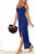 InsDresses Fashion Spaghetti Strap  Single Breasted Slit  Plain  Sleeveless Maxi Dresses