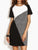InsDresses Round Neck Patchwork Color Block Shift Dress