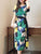 InsDresses Fashion Round Neck  Belt  Abstract Print Maxi Dress