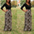 InsDresses Fashion Scoop Neck  Cutout Patchwork  Contrast Stitching Curved Hem  Leopard Maxi Dresses