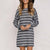 InsDresses Round Neck Long Sleeve Stripes Shift Dresses