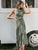 Ins Dresses Sexy Halter Neck Sleeveless Vintage Green Maxi Dress