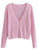 Women Knitted Cardigan Solid Pink Sweater