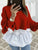 Women Streetwear Ruffles Patchwork Casual Blusas Sweater