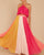 InsDresses Fashion Hanging Neck Rainbow Striped Pleated Dress