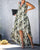 InsDresses Fashion V-Neck Feather Print Swallowtail Dress