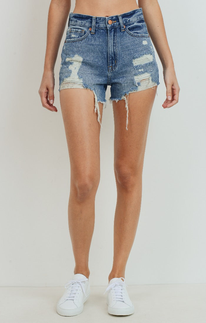 The Presley High Rise Destroyed Denim Short