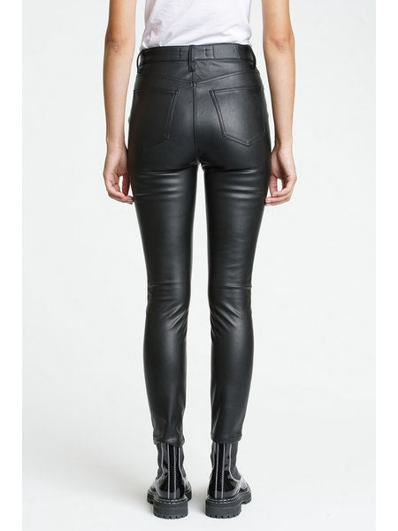 Aline Vegan Leather High Rise Skinny - Onyx