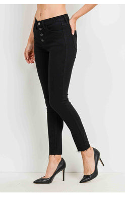 High Rise Button Down Skinny