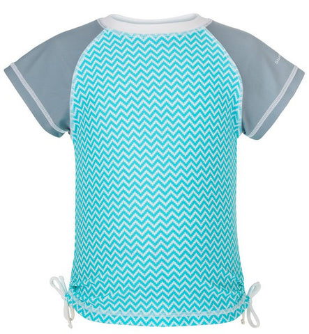 Snapper Rock Aqua Chevron Short Sleeve Girls Rash Top