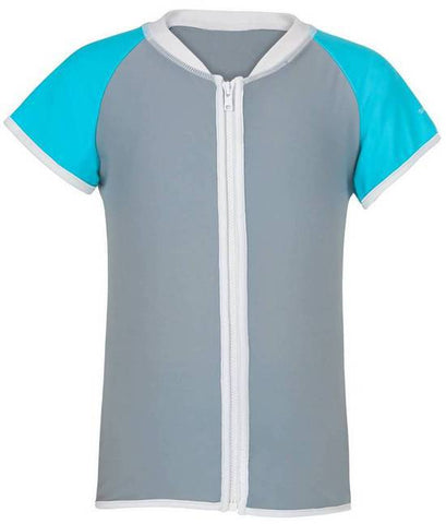 Snapper Rock Aqua/Grey Short Sleeve Girls Rash Zip Top