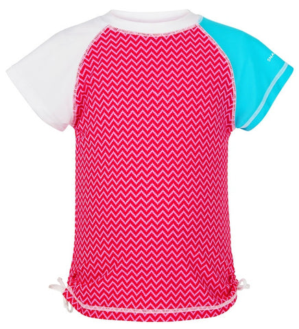 Snapper Rock Aqua Berry Short Sleeve Girls Rash Top