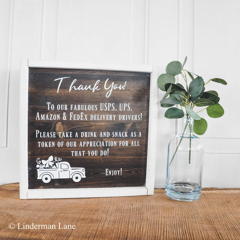 Personalized Porch Snack Basket Sign for Delivery Drivers