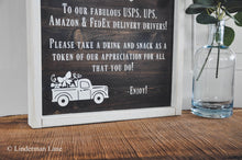 Load image into Gallery viewer, Personalized Porch Snack Basket Sign, Mail Delivery, Delivery Driver Thank You, Porch Sign, Porch Decor