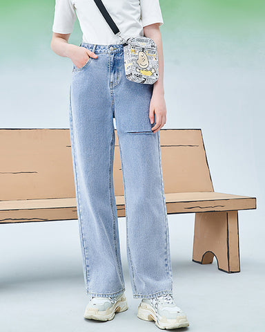KUOSE High Waist Comic Patch Ripped Jeans