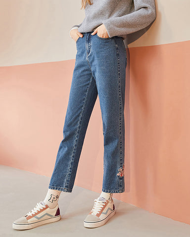 KUOSE Cropped Embroidered Straight-leg Jeans