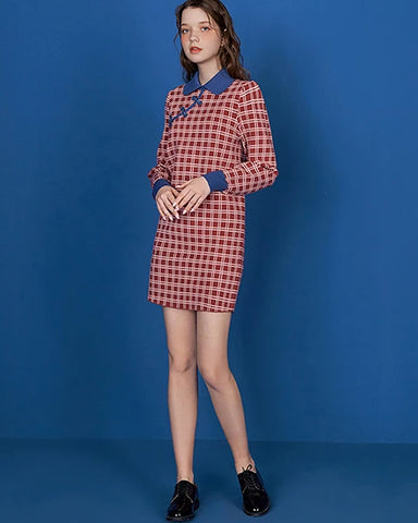 KUOSE Chinese Cheongsam Style Plaid Dresses