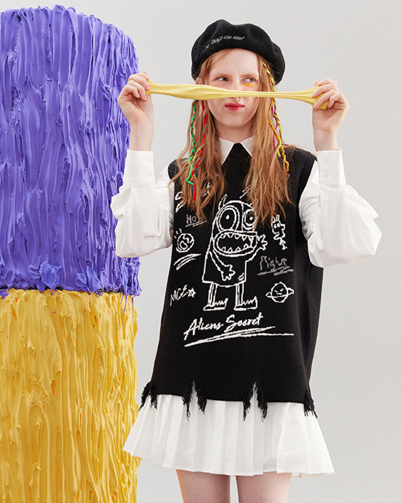 KUOSE Graffiti Printed Loose Knitted Vest