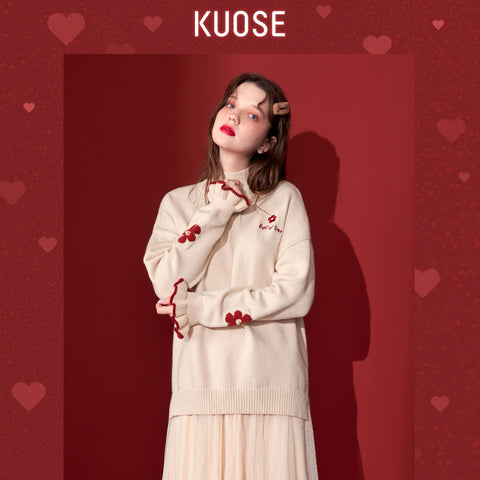 KUOSE Embroidered Ruffled Cuffs Sweater