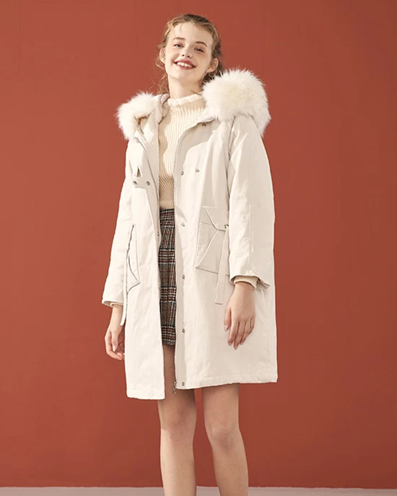 KUOSE Solid Color Loose Fur Collar Cotton Coat