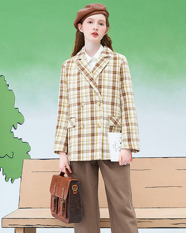 Checkered blazer women 2020 spring new long-sleeved Korean loose casual British style suit