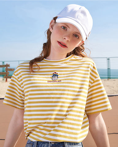 KUOSE Embroidered Striped Short Sleeves T-shirt