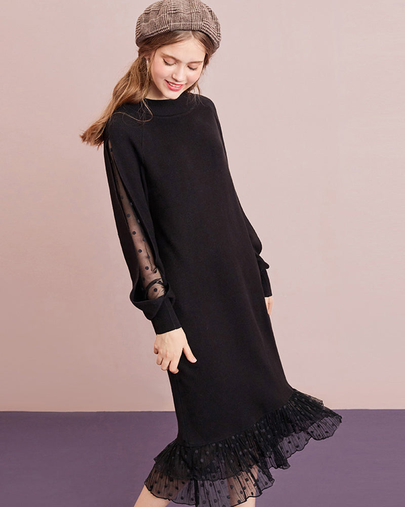Hollow Mesh Knitted Vintage Dresses