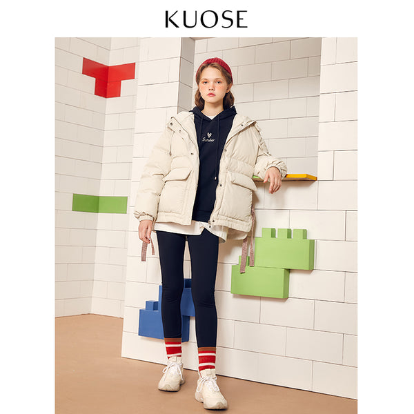 KUOSE Loose Cotton Wool Collar Thick Coat