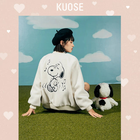 KUOSE Embroidery Loose Wool Coat