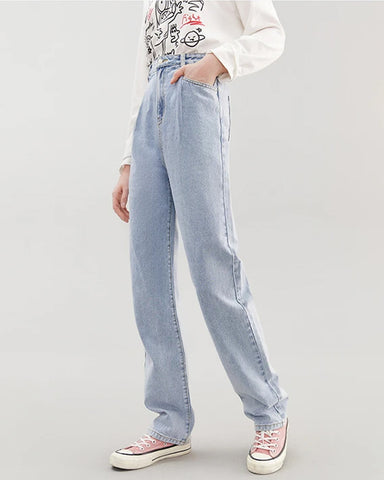KUOSE Retro High-rise Straight-leg Jeans