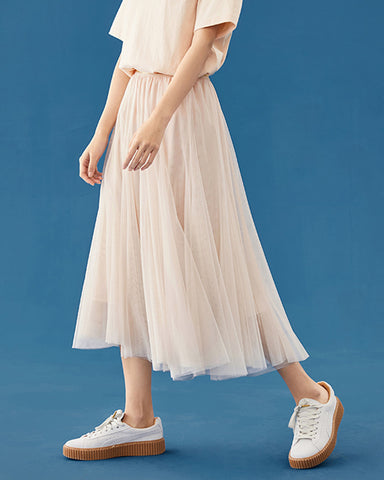 2020 autumn and winter Korean version of the new women's mesh gauze casual high waist pleated a-line girl skirt