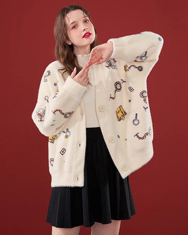 KUOSE Jacquard Loose Knitted Cardigan Sweater