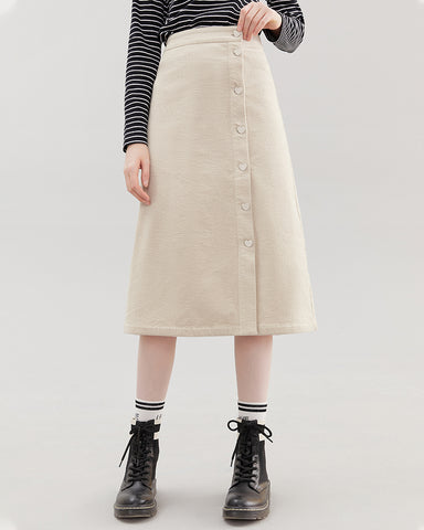 KUOSE High-waist Corduroy Single-breasted Skirt
