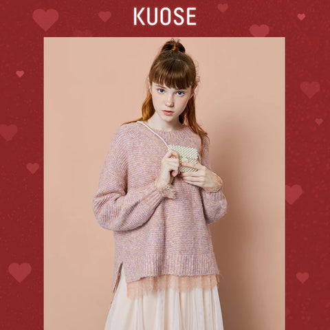 KUOSE Stitching Long Sleeve Round Neck Sweater