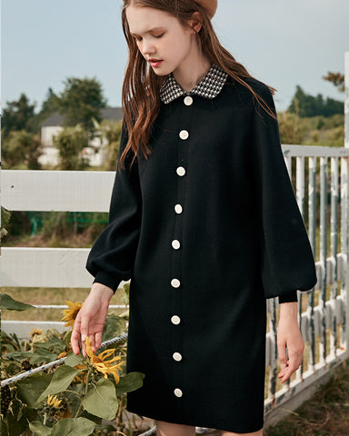 KUOSE Autumn And Winter Long Lantern Sleeves Retro Knit Dresses