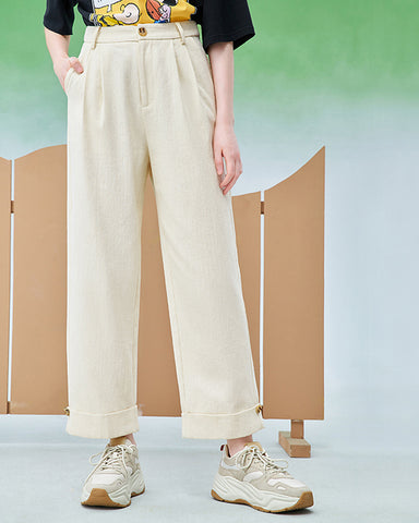 KUOSE High Waist Straight Casual Pants