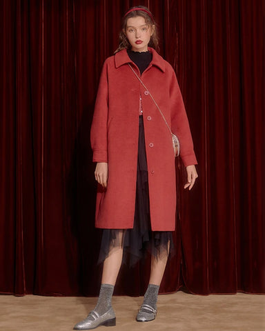KUOSE Solid Color Loose Woolen Coat