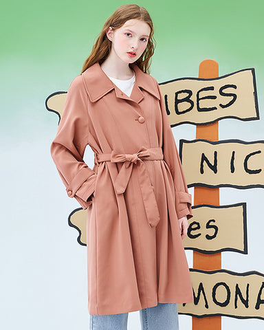 Wide color 2020 spring new mid-length over-the-knee popular windbreaker Korean women's casual loose coat