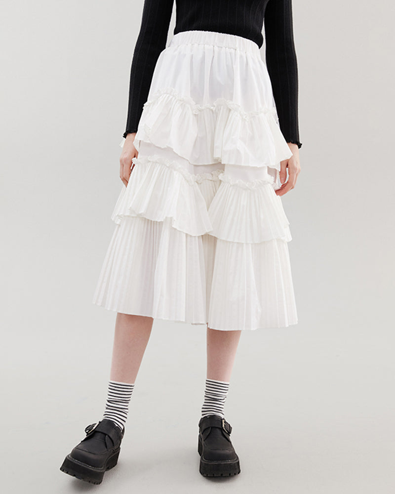 KUOSE Ruffled High Waist Casual Skirt